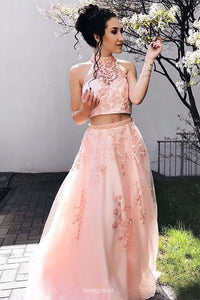 Halter Two Piece Pink Tulle Prom Dress With Beaded Appliques OP490