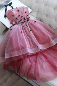 High Low Applique Strapless Prom Party dress Tutu Skirt Sweet 16 Dress OM135