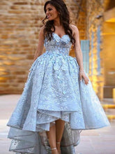 A-Line Sweetheart High Low Lace Prom Dress with Handmade Flower, OP226