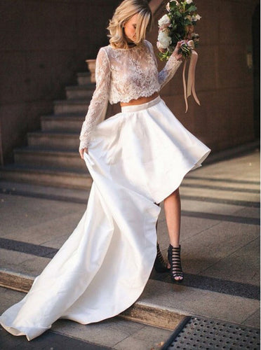 2019 High Low Two Piece Bateau Lace Wedding Dress With Long Sleeves OW347