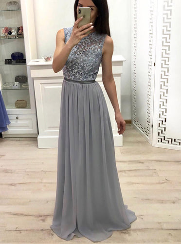High Neck Chiffon Long Prom Dress Lace Top Grey Bridesmaid Dress OP566