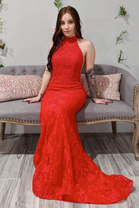 High Neck Orange Red Mermaid Lace Long Prom Dress With Open Back OP591