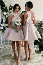 High Neck Satin Short Blush Short/Mini Bridesmaid Dresses with Bowknot OB153