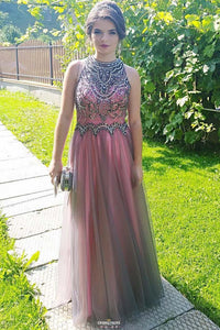 High Neck Tulle Beaded Bodice Long Prom Dress With Keyhole Back OP530