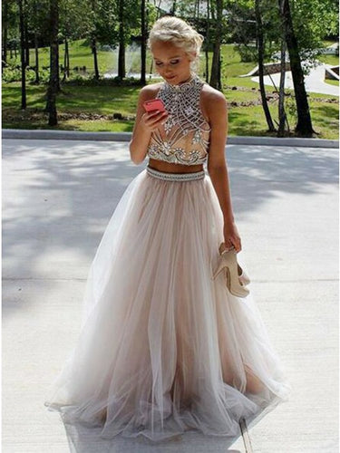 High Neck Tulle Beaded Two Piece Prom Dress With Keyhole Back OP364