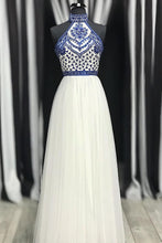 High Neck White Blue Embroidery Long Prom Dress Backless Party Gown OP608