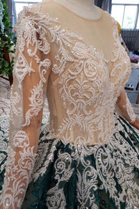 Long Sleeve Appliques Beading Quinceanera Dresses Ball Gown Vintage Wedding Dress PO029