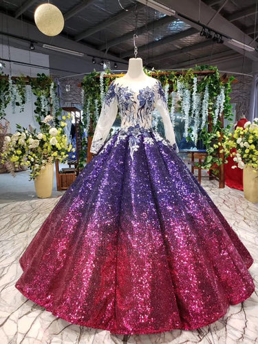 Sparkly Long Sleeve Ball Gown Sequins Ombre Quinceanera Dresses With Appliques PO054