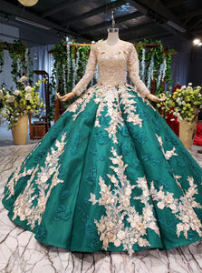 Long Sleeve Ball Gown Wedding Dress Appliques Beading Quinceanera Dresses PO075