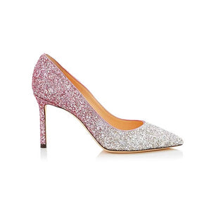 Ombre Rhinestone High Heels Closed Toe Patent Leather OS136