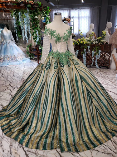 Luxurious Sequins Beaded Long Sleeves Ball Gown Quinceanera Gown OP719
