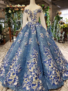 Glitter Beaded Appliques Long Sleeves Blue Ball Gown Quinceanera Gown OP720