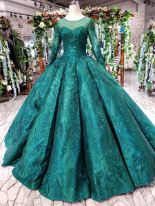Princess Green Quinceanera Gown Beaded Appliques Long Sleeves Ball Gown OP721