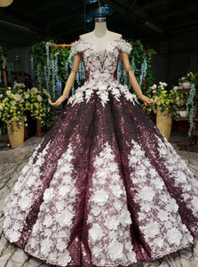 Off-Shoulder Quinceanera Dresses Prom Dresses Ball Gown With 3D Appliques PO148