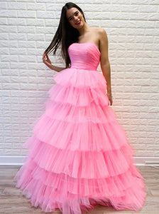 Pink Tulle Sweet 16 Dresses Princess Strapless Long Formal Prom Dresses PO151