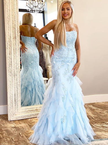 Sky Blue Mermaid Prom Dresses With Appliques Strapless Formal Evening Dresses PO149