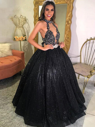 Bling Black Prom Dresses Halter Beads A Line Sequins Evening Dresses PO152
