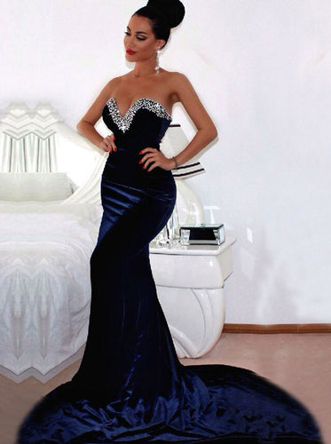 Navy Blue Mermaid Prom Dress Beaded Sweetheart Formal Long Evening Gown PO153