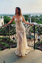 Illusion Round Neck Mermaid Lace Wedding Dress with Beading OW371