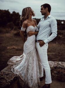 Ivory Lace Country Wedding Dresses Sweetheart Beach Mermaid Bridal Gown OW362