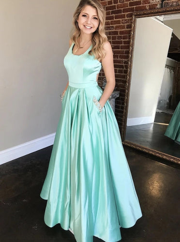 Square Neck A-line Mint Green Long Prom Dress With Beaded Pockets PO339