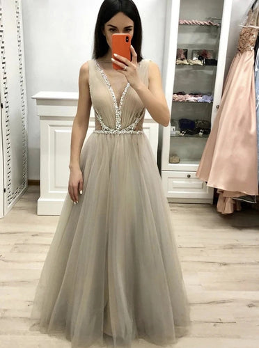 Deep V Neck Long Prom Dress with Beading, A Line Tulle Long Graduation Dress PO340