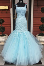 Princess Spaghetti Straps Appliqued Mermaid Prom Dresses Ruffle Formal Dress PO314