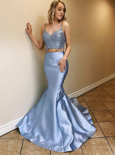 Lace Top Blue Two Pieces Prom Dresses Mermaid Party Dress PO342
