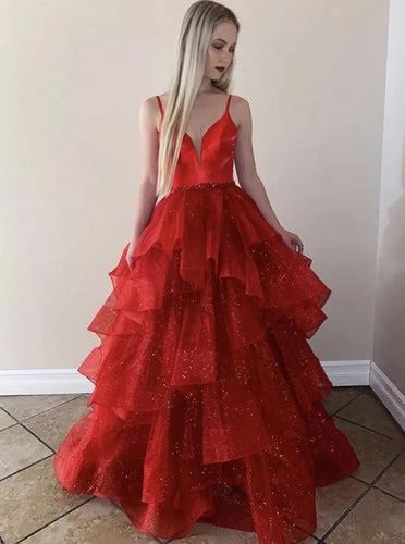 Sparkly Red V Neck Tulle Sweet 16 Dress, Sequins Long Princess Prom Dress PO341