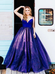 Sparkly Tulle A-line V-neck Long Royal Blue Sleeveless Prom Dresses PO337