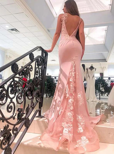 Mermaid V Neck Spaghetti Straps Long Prom Dresses, Appliques Party Dress PO347