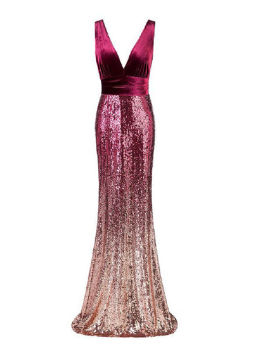Burgundy Prom Dress Velvet Sequins V-neck Mermaid Evening Dress E90802