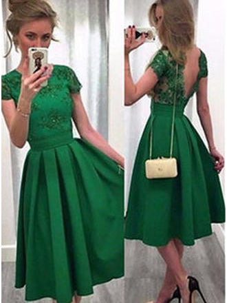 A-Line Scoop Cap Sleeve Satin Green Cocktail Party Dresses With V-Back, OP205