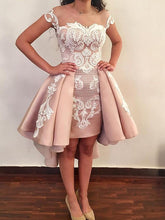Lace Appliques Nude Overskirt Homecoming Dresses, Hi-Lo Party Dress, OM101