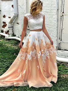 Lace Appliques Two Pieces Prom Dresses Long Keyhole Graduation Dresses OP299