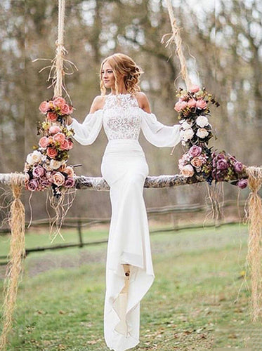 Lace Beach Wedding Dress Drop Long Sleeves Chiffon Mermaid Bridal Gowns OW359