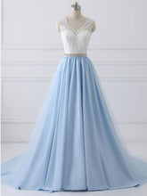 Straps A Line V Back Lace Beading Waist Long Prom Dress With Ribbon OP277
