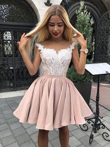 Lace Bodice Satin Straps Short Prom Dress, Cute Homecoming Dress, OP139