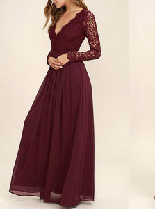 Flowy Lace Chiffon V-Neck Backless Long Sleeves Burgundy Bridesmaid Dresses OB142