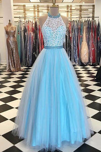 Lace High Neck Floor Length Tulle Blue Long Prom Dresses With Beading OP438