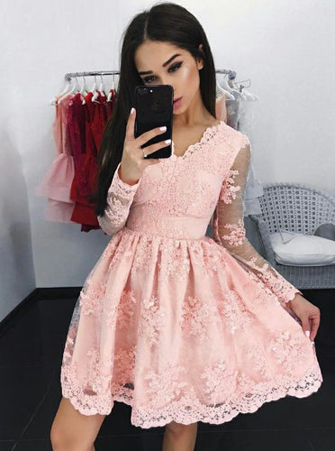 Lace Long Sleeves Pink Tulle Graduation Party Dress, OP168