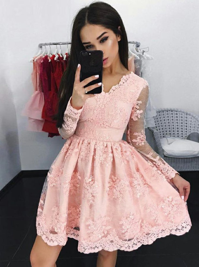 dea95af01fc Lace Long Sleeves Pink Tulle Graduation Party Dress