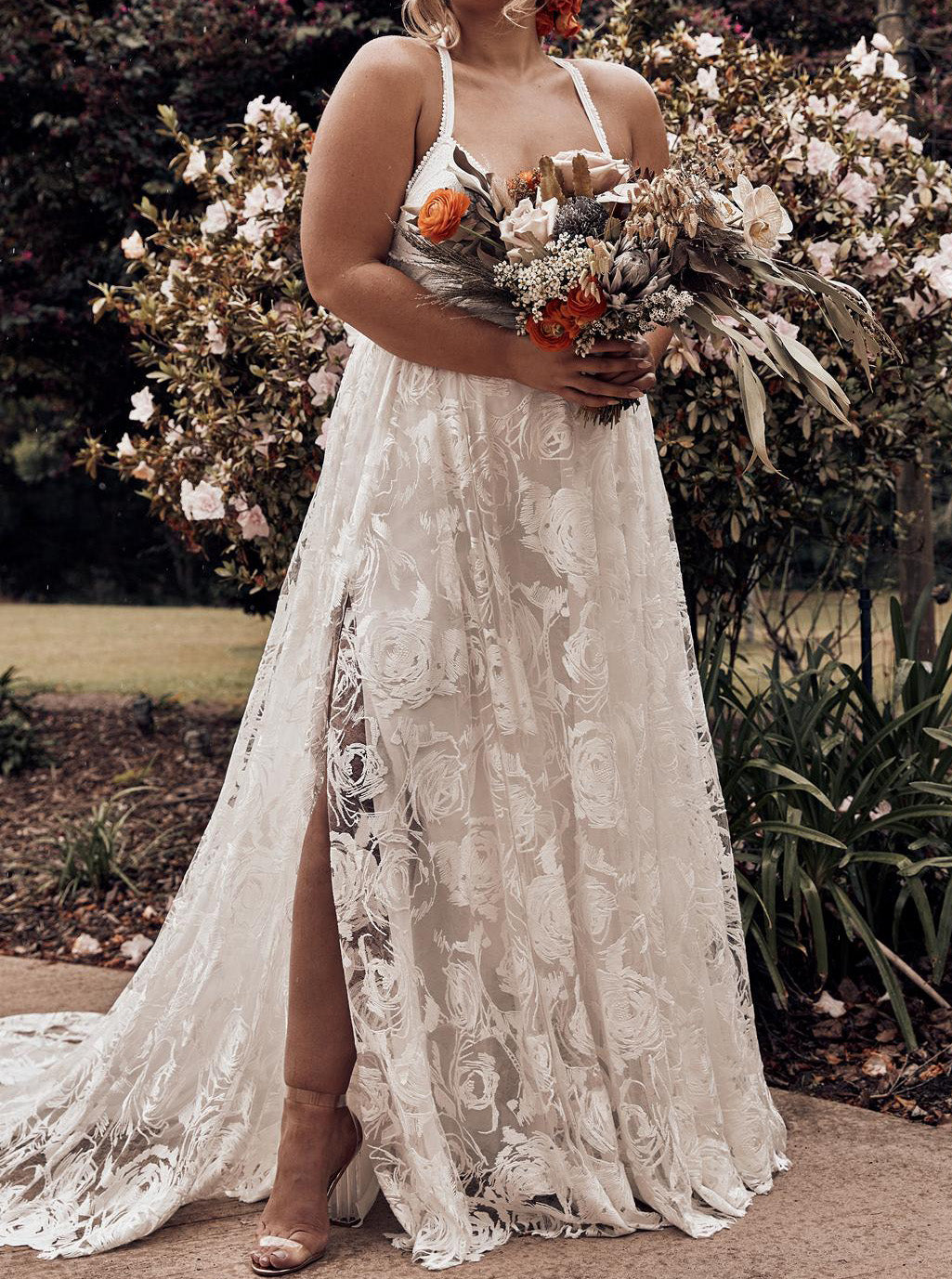Lace Spaghetti-straps Cross Back Plus Size Backless Beach Wedding Dress,  OW329 – Ombreprom.co.uk