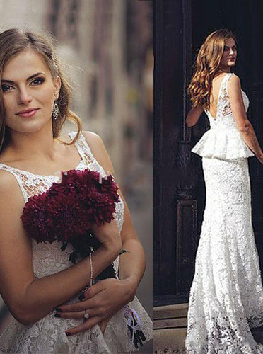 Romantic Sheath Open Back Peplum Lace Wedding Dress OW326