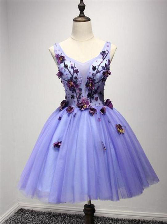Sweet 16 Dress Lavender Short Prom Dress With Flower Applique OM132