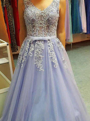 Lavender Tulle Long Prom Dress V-Neck Appliqued Dance Gown OP675