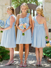 Light Blue Ruffles One Shoulder Chiffon Short Beach Bridesmaid Dress OB192