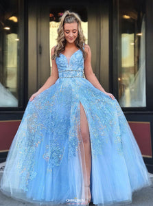 Light Blue Beaded Appliques Prom Dresses With Slit, Backless Party Gown OP527