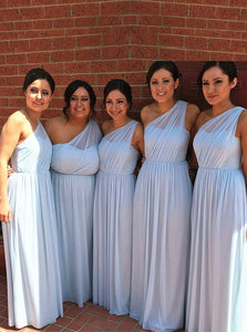 Light Blue Chiffon One Shoulder Long Bridesmaid Dresses OB182