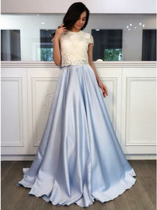 Lace A-line Light Blue Satin Long Prom Dress, Cap Sleeves Bridesmaid Dress, OP181